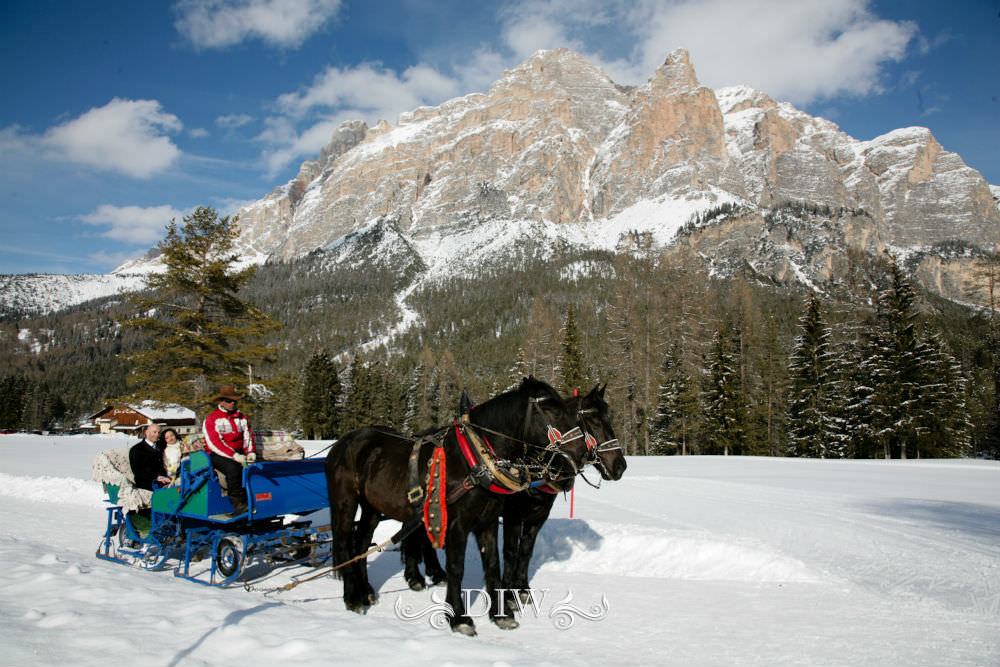 horse drawn sleigh for italy wedding